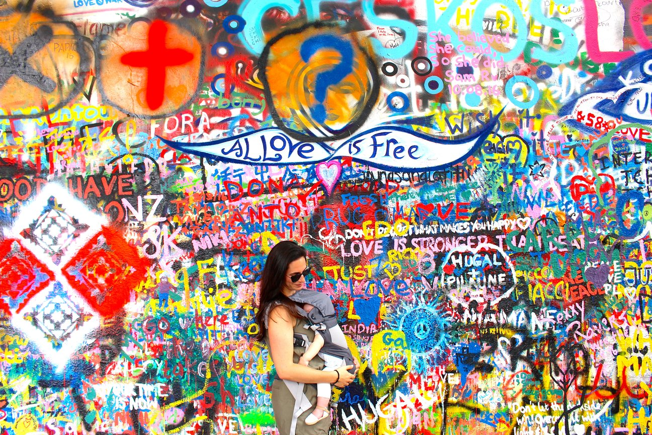 prague lennon wall baby wearing ergo travel