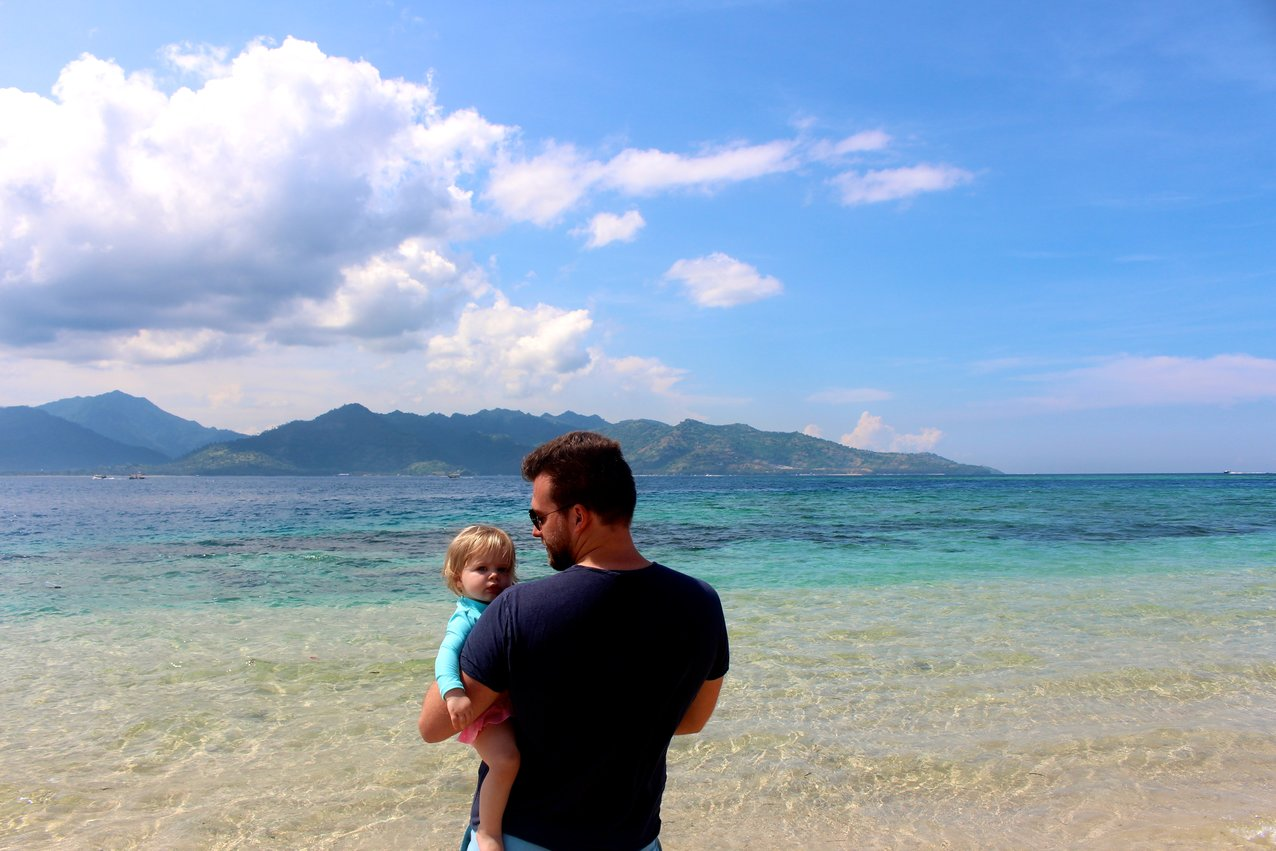 gili air islands indonesia with a baby