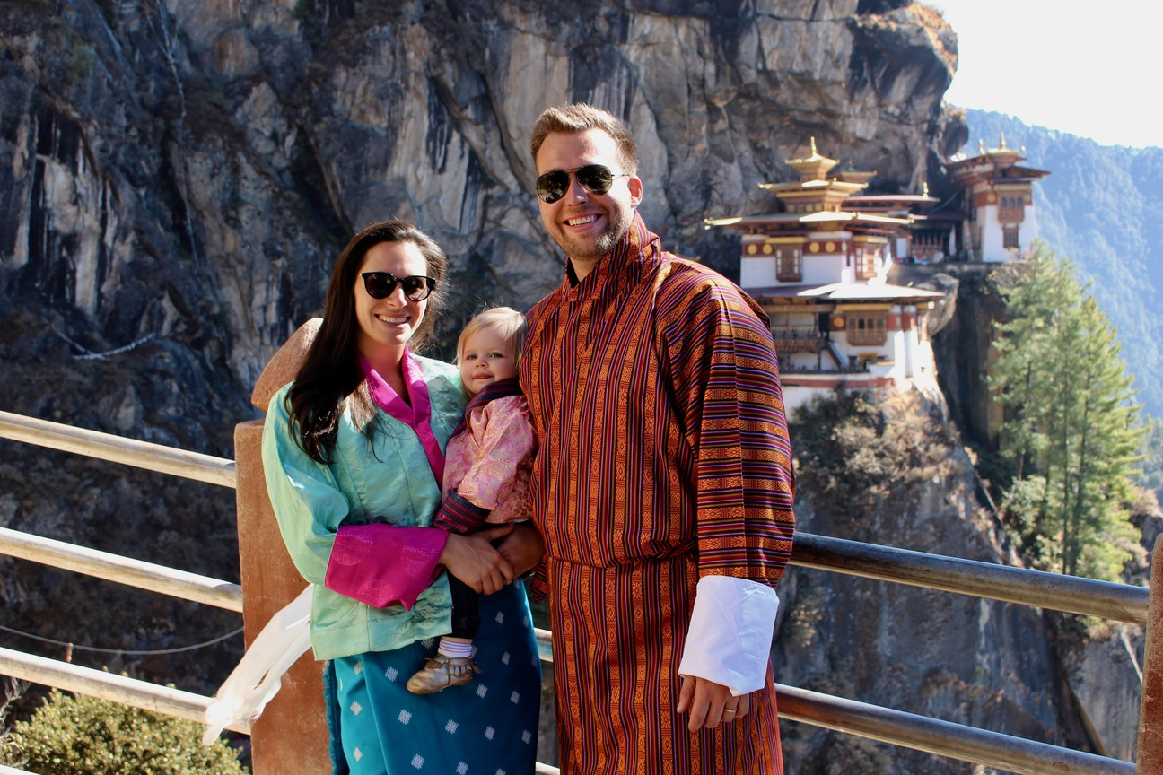 baby in tigers nest bhutan family hike